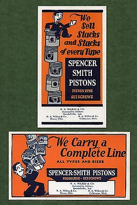 """2 Different SPENCER-SMITH PISTONS Blotters - c.1920, 3½""""x6"""", Unused, Great Cond"""