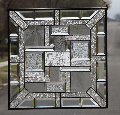 "JACK FROST-Clear Beveled Stained Glass Window Panel - 191/2 ""x19 1/2"