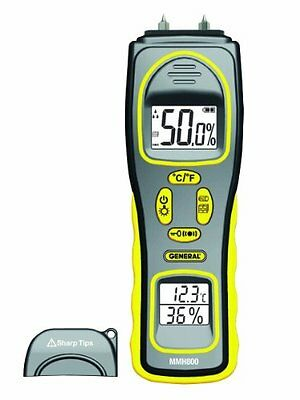 General Tools MMH800 Moisture Meter, Pin Type or Pinless, Te