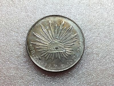 1896 Zs FZ Mexico Cap & Rays 8 Reales Nice Luster AU-UNC Condition
