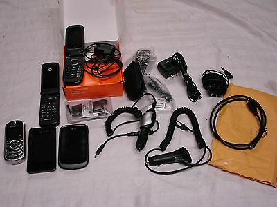 5 Used Motorola - Lg - At&t Cell Phones Plus Assorted Phone Chargers