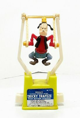 Goofy Walt Disney Productions Tricky Trapeze Push Button Acrobat Toy Kohner Bros