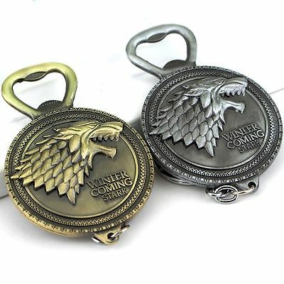 2PC Game of Thrones: House Stark Winter Is Coming Keychain and Bottle Opener GOT