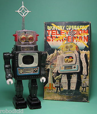 Original Alps Television Spaceman Robot Made In Japan + Orig Box Nmint Condition