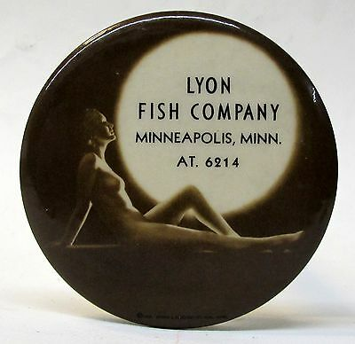 1930's LYON FISH CO. Minneapolis nude lady celluloid paperweight pocket mirror *