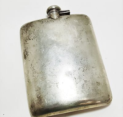 Nice Sterling Silver Heavy Large NO MONOGRAM Hip Flask Large B2915