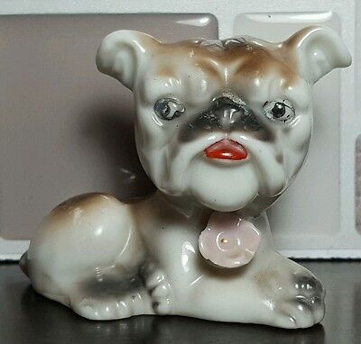 Laying Bulldog Puppy Dog with Flower Rose Figurine Made in Japan