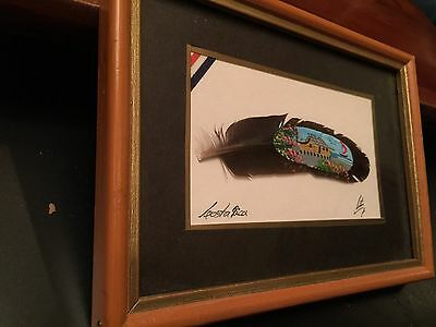 Hand Painted Feather Framed Artist Signed Costa Rica Art