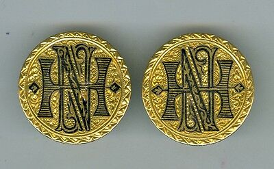 Matching Pair 1888 $5.00 Gold Coins Cuff Links Love Tokens NH, 14K Gold Studs
