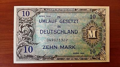 1944 Germany 10 Mark Military world paper money great condition