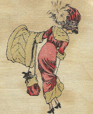 Vintage/antique promotional silk -use in crazy quilt- fashion girl GUSSIE c1910