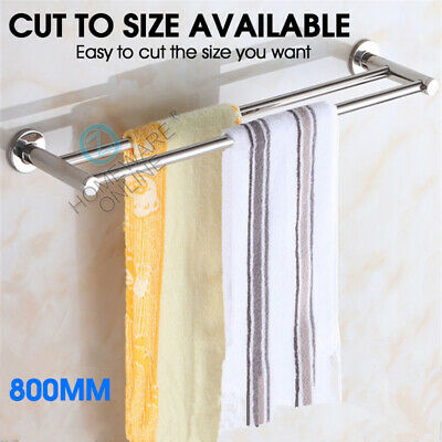 790mm Double Towel Rail Rack Round Stainless Holder Bathroom Wall Mounted Chrome