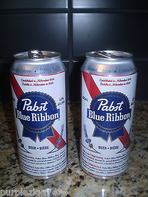 EMPTY ~ Lot of 2 EMPTY Limited Edition Pabst Blue Ribbon Beer Cans ~Mr.Crocks