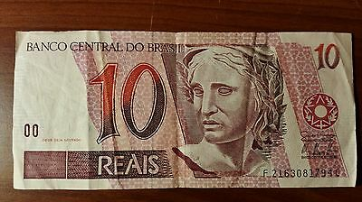 Brasil 10 Reais world paper money Great condition