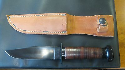 Mark 1 H.  Boker & Co. U.s.n. Knife & Sheath, Blue Blade Exc. To Near Mint Cond.
