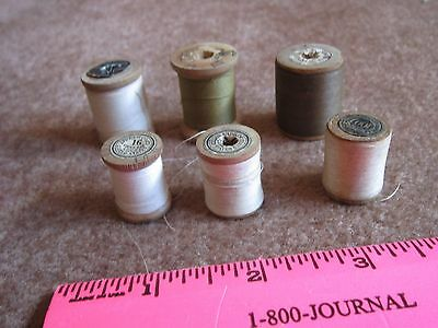 Vintage Wooden Spools Thread Sewing Collectibles Andrew Coats Lot of 6