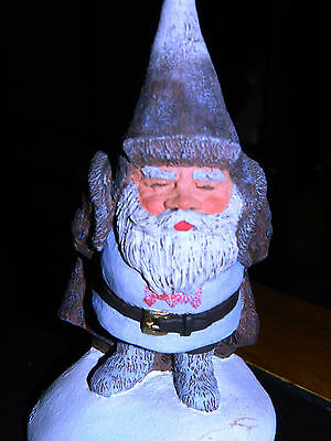 VERY RARE Old 1988 Rien Poortvliet Artina Signed Gnome Old Man Figurine in Snow
