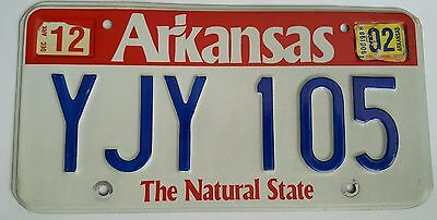 2002 Arkansas expired license plate tag ( YJY 105 ) The Natural State