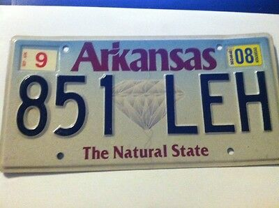 Vintage 2008 Arkansas expired license plate tag (  851 LEH  ) NATURAL STATE