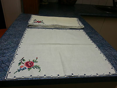 Vintage Hand Embroidered Roses Cloth Napkins x 6 - Large -