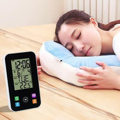 Touch LCD Digital Alarm Clock Thermometer calendar Snooze Clock Desk-top/ Wall