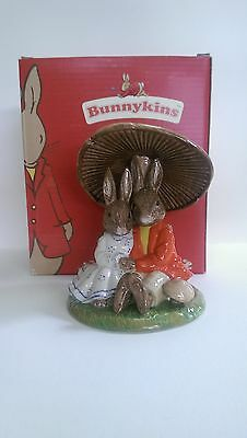 Royal Doulton Bunnykins DB480, Cuddling under a Mushroom. New. Mint Condition.