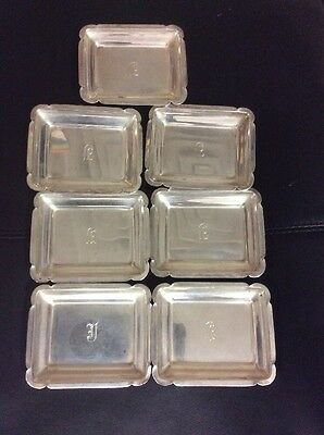 """Set of seven antique sterling silver small nut dishes, 2""""x3"""""""