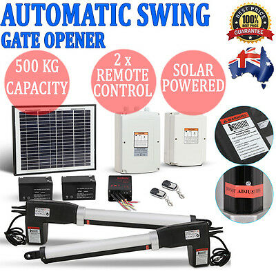 Solar Powered Automatic 2 Arm Swing Gate Opener System Kit w/ 2 Remote Controls