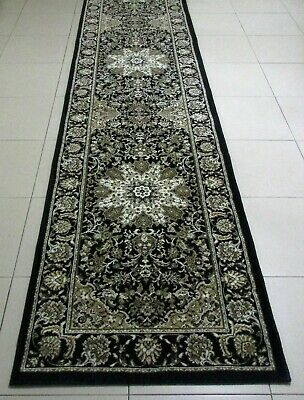 New Black Persian Design High Quality Heatset Hallway Runner Floor Rug 80X300Cm