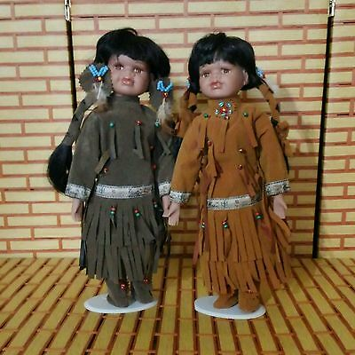 "15"" Native American Indian Girl Bisque Porcelain Doll Lot of 2 New w/o Box IAC"