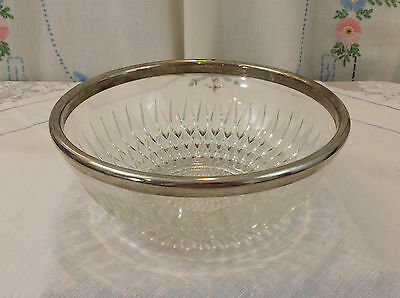 Beautiful Vintage Large Sparkling Pressed Cut Glass Bowl w/ Silver Banded Rim 9""