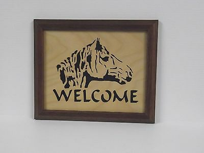 """Handcrafted Framed """"Welcome"""" Horse Head Silhouette"""