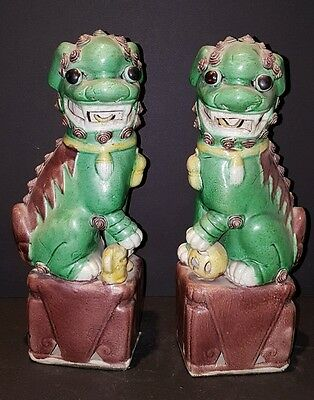 chinese export Foo Dogs green withe brown base ball and dog