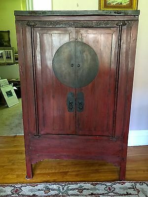 RARE ANTIQUE CHINESE CABINET ARMOIRE~Slab Top