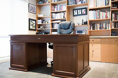 Cleveland Wooden Office Desk With Leather Top with Chair