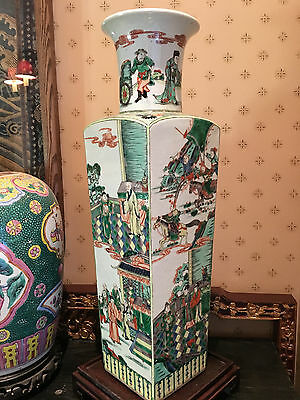 A Large Chinese Qing Dynasty Famille Verte Square Rouleau Vase, Marked.