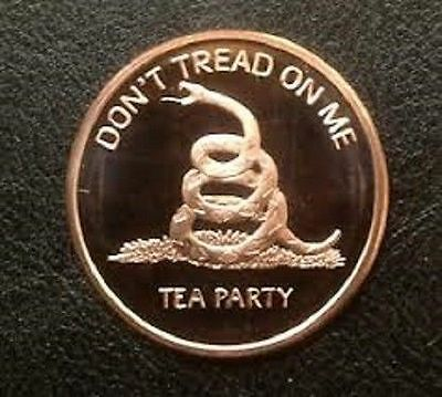 "1 AVDP oz ""Don't tread on me"" Copper Round .999 uncirculated coin."