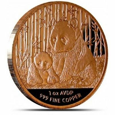 1 AVDP oz China Panda copper round. Uncirculated .999