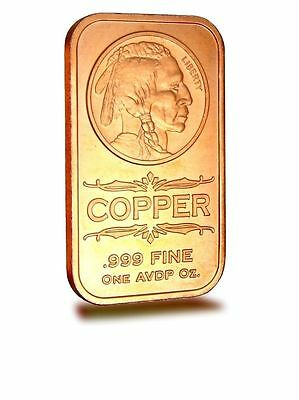 1 AVDP oz Indian Head Copper Ingot .999 uncirculated