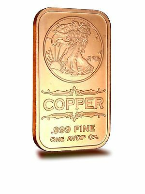 1 AVDP oz Walking Liberty Copper Ingot .999 uncirculated bar.
