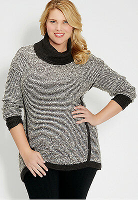 $44 NWT Maurices Cozy Warm Plus Size 4 4x 28W Marled Gray Long Sweater pullover