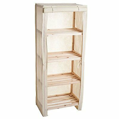 Lavish Home Four Tier Wood Storage Shelving Rack with Removable Cover