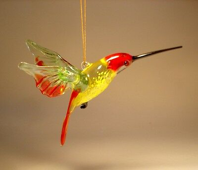 Blown Glass Figurine Bird Hanging Red, Yellow and Green HUMMINGBIRD Ornament