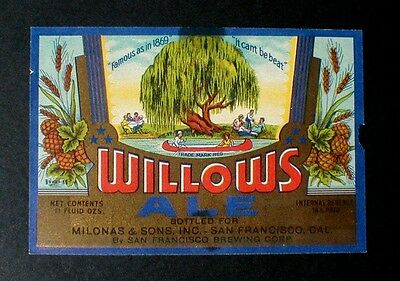 Irtp Willows Ale Beer Label, San Francisco Brewing Corp. Sf, Cal.