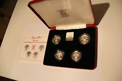UK 1984-1987 £1 One Pound 4-coin silver proof collection Royal Mint cased + coa