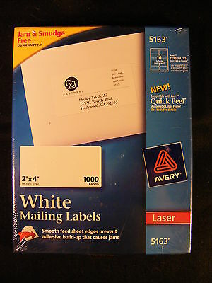 "Box of 1000 2""x4"" Avery Laser Printer Labels #5163 NEW SEALED"
