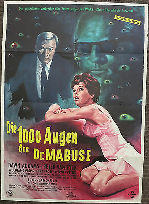 THE 1000 EYES OF DR. MABUSE (1960) Rare Original German Movie Poster Fritz Lang