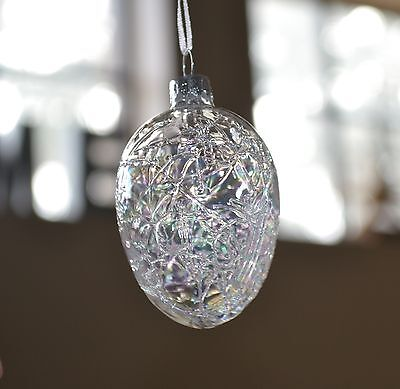 Easter Tree Glass Egg Ornament Crackle Clear Opaque Pier 1 New