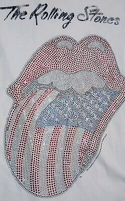New Amplified Rolling Stones bedazzled bling tshirt white small