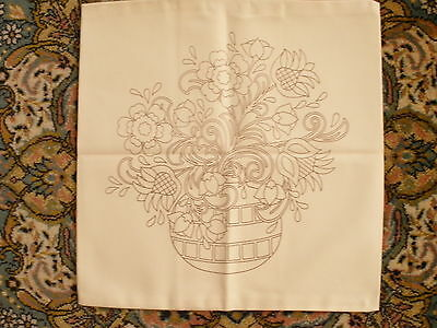 Stamped Cushion Cover To Embroider - Ideal For Crewel Work - Excellent Cond.